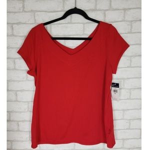Womens NWT Chaps Double V Red Short Sleeve Top 2X